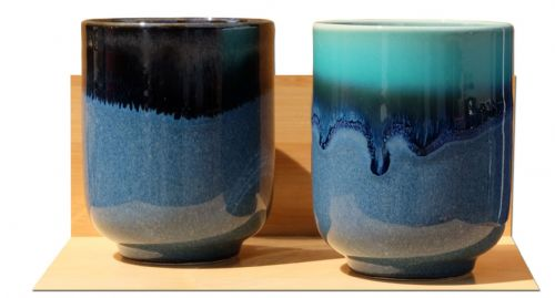Blue Lagoon Ceramic Japanese Tea Cups X 2